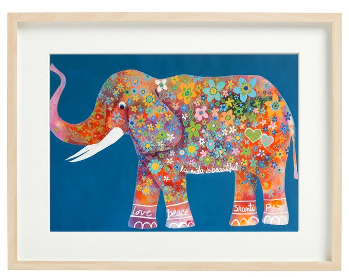 "original elephant  animal hindú Jaipur art naif hand made Indian paper baby room ,flower power,original watercolor paper 20""x28"""