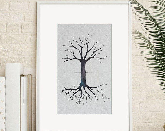 """tree watercolor original slim duality roots branches  hand made  ink and pen/bamboo tracing nature art unique piece  30x40cm12""""x16"""""""