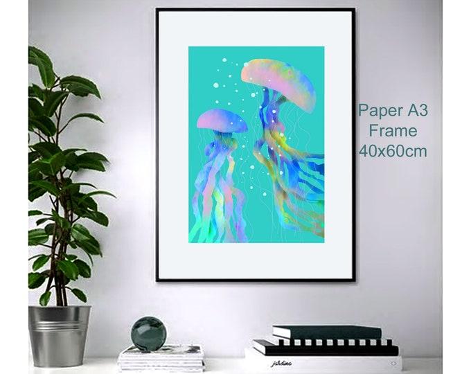 Jellyfish ,wall art , print of original watercolor ,sea blue mediterranean ,animalart ,ocean