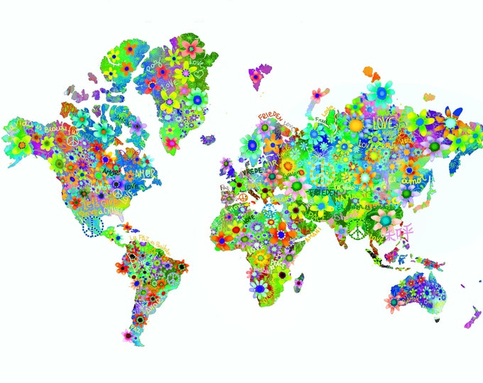 World map hippy flower ,print ,limited edition