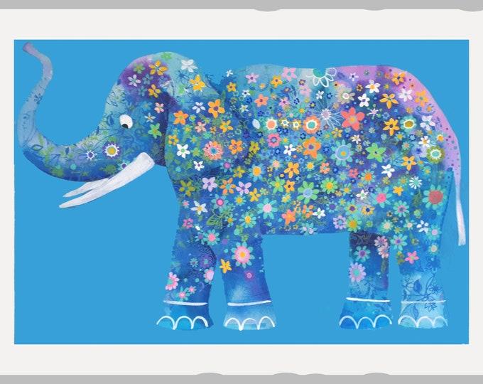"original elephant  animal hindú Jaipur art naif hand made Indian paper baby room 20x28"""