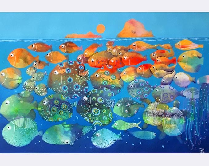Ibiza Es Vedrá, fishes underwater original watercolor seascape mediterranean blue children room living room28''x39''(70x100cm)