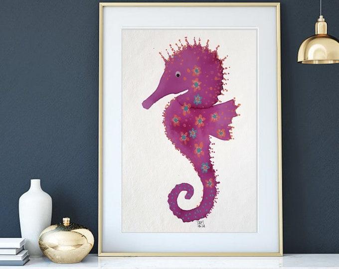 Watercolor Sea horse mediterranean pink  art nautical painting coastal decor handemade paper live your dream unique piece 12''x16''(30x40cm)
