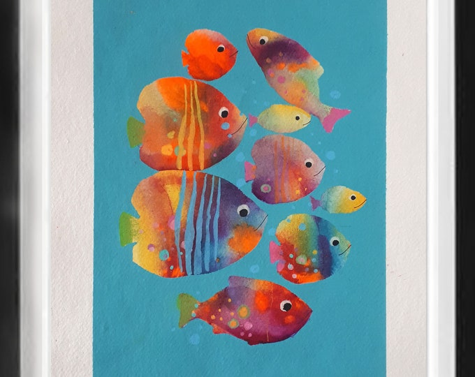 "Fishes watercolor ocean art nautical painting coastal mediterranean blue  decor handmade paper art animal untherwater 12""x16"" (30x40cm)"