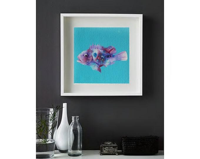 watercolor original Fishes ocean art nautical paper handemade children room sea underwater mediterranean blue unique piece12''x12''(30x30cm)