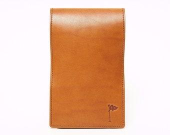 Personalized Handmade Leather Golf Scorecard Holder / Yardage Book in Tobacco Tan