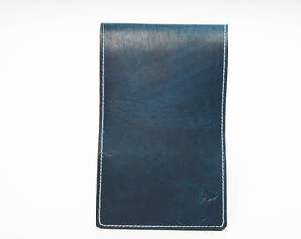 Personalized Handmade Leather Golf Scorecard Holder / Yardage Book in Navy Blue