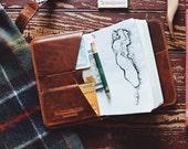 Golf Wallet Personalized Handmade Leather Golf Wallet / Scorecard Holder /   Crenshaw Horween Chestnut leather Golf Gifts for Men