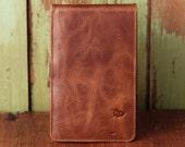 Personalized Handmade Leather Golf Scorecard Holder / Yardage Book in Vintage Whiskey Tan