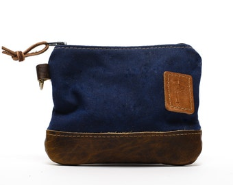 Waxed Canvas Zippered Golf Valuables Field Pouch in Navy personalized monogrammed