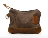 Waxed Canvas Zippered Golf Valuables Field Pouch in Bourbon personalized monogrammed