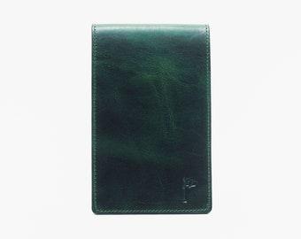 Personalized Handmade Leather Golf Scorecard Holder / Yardage Book in Olive Green