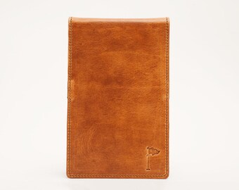 Personalized Handmade Leather Golf Scorecard Holder / Yardage Book in Horween Cognac