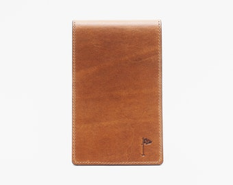 Premium Leather Golf Scorecard Holder Tobacco Tan Brown Personalized Custom Initial Yardage Book Flip Cover Father's Day Gift
