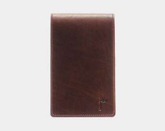 Golf Scorecard Holder with Pen Loop Horween Chestnut Brown Personalized Customized Stamped Initials Cover The Perfect Golf Gift