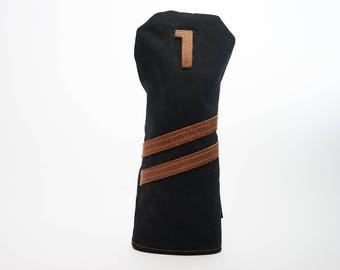 Personalized  Handmade Golf Headcover in Black, Golf club Head Cover,  Waxed Canvas  golf gifts for men