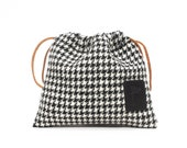 Golf Drawstring Pouch Personalized  Monogram Harris Tweed Bag Ball Valuables Storage Golfer Essential Keepsake Perfect Gift Idea