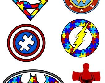 Autism Awareness - Puzzle Pieces - Superhero Logos - svg files