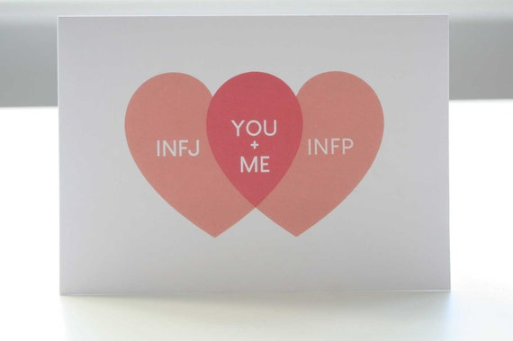 INFJ and INFP You + Me Venn Diagram Love Hearts Greetings Card