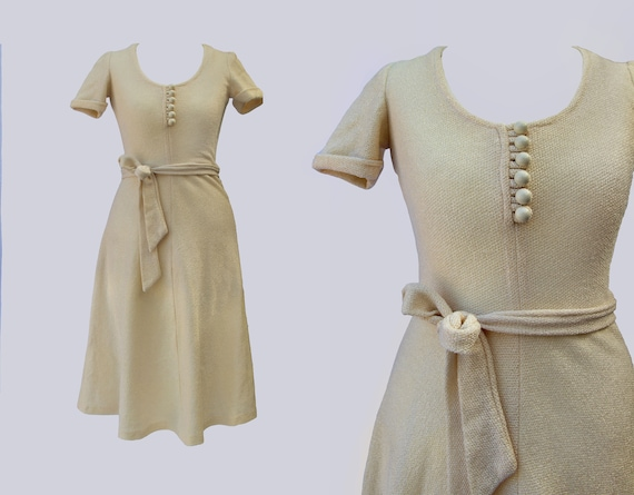 1970s, Cream Knitted, Belted Dress