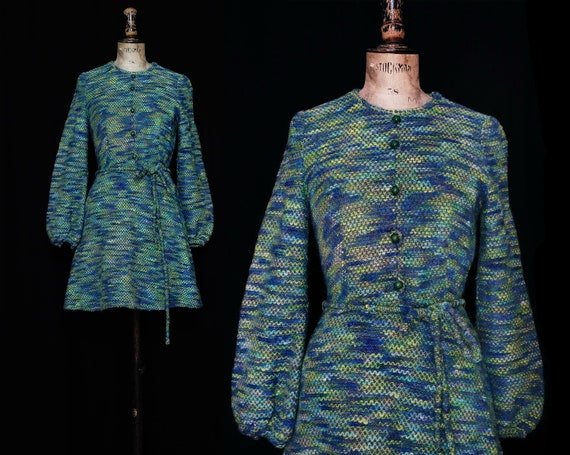 1970s Blue and Green Knitted Dress with Balloon Sl