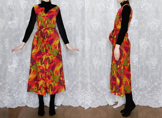 1970s Multicoloured, Psycadelic Culotte Jumpsuit