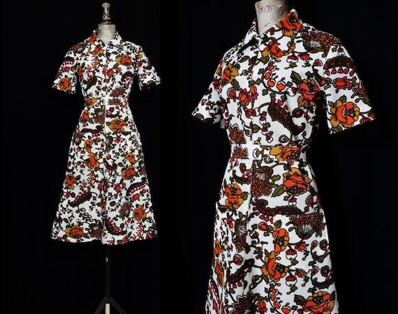1970s Autumnal Coloured Floral, Belted Dress