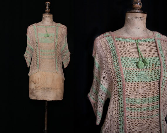 Green and Beige, 1930s Crochet Knit Jumper with Fe