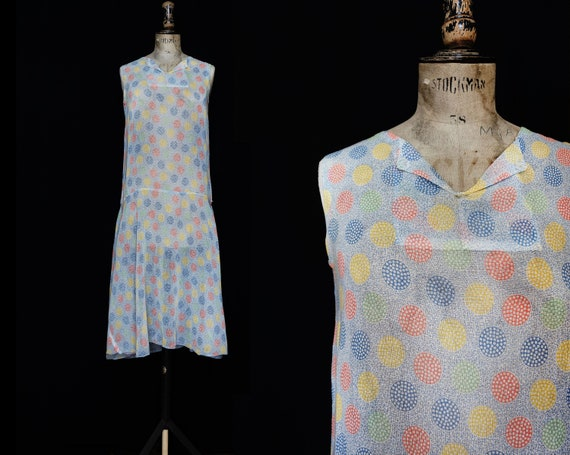 Late 1920s Printed Cotton Day Dress - image 1