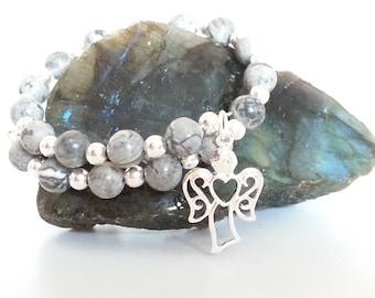 Scenery Jasper Bracelet, Silver Plated Memory Wire Bracelet with Scenery Jasper beads & a choice of Angel Charm, Heart or Butterfly Charm