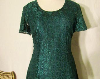 Dark Emerald Green Vintage 80's Lace Scoop Neck Short Sleeve Mini Dress Medium Small