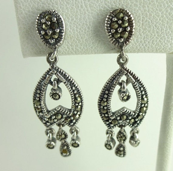 Vintage sterling silver 925 marcasite chandelier earrings aloadofball Image collections