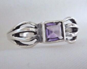 Vintage Art Deco Sterling Silver 925 Purple Amethyst Ring