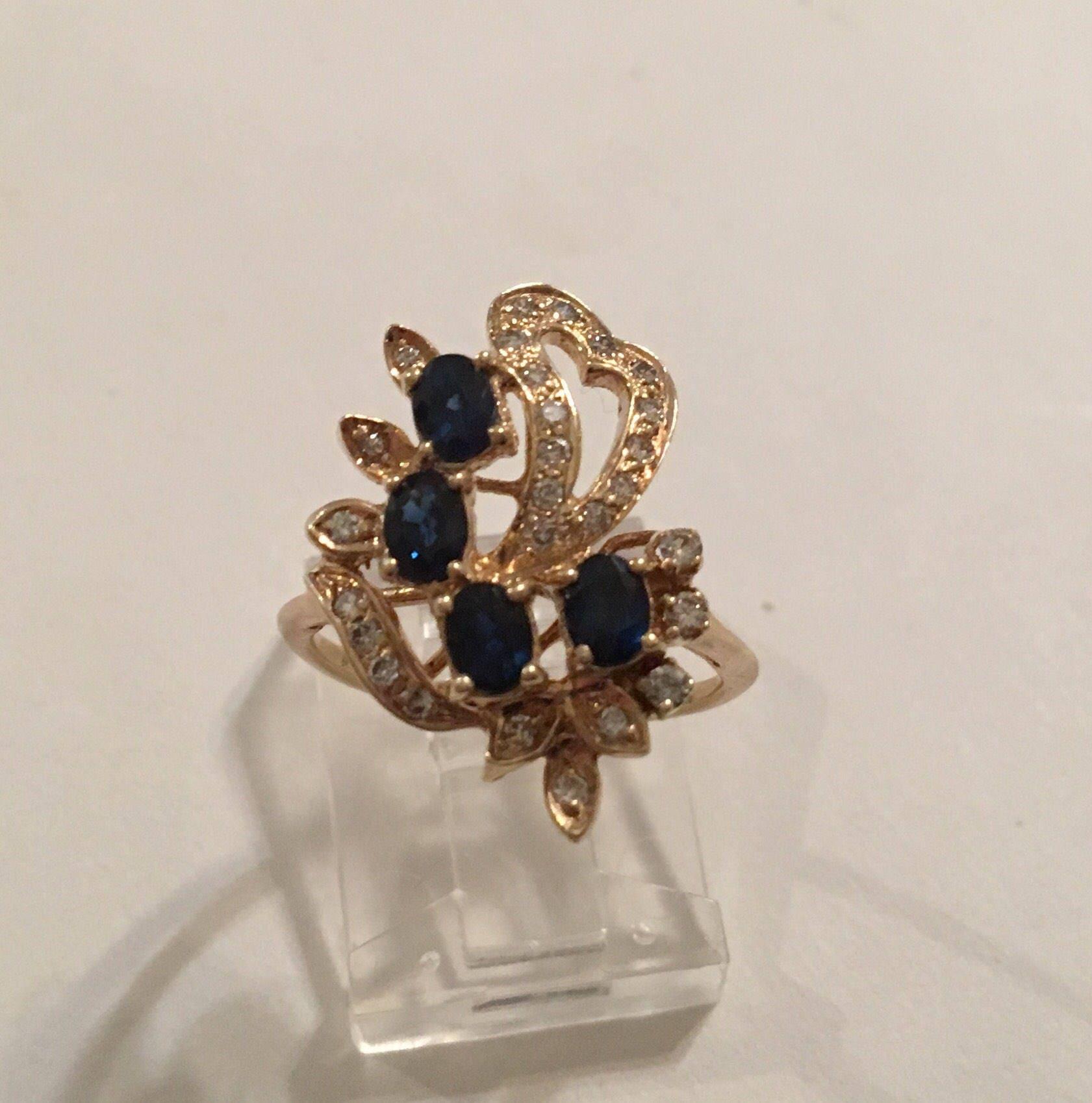 Vintage 14K Yellow Gold Blue Sapphire & Diamond Cocktail Ring