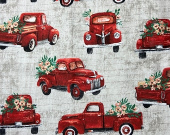 Red Truck Vintage Cars with Christmas Trees Theme Flannel 100/% Cotton Fabric ~ Fat Quarter