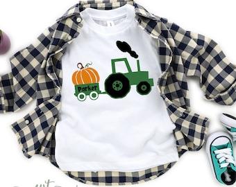 Fall boy shirts, Personalized boy toddler shirt, baby boy halloween shirt, tractor pumpkin shirt, fall pumpkin shirt, pumpkin shirt boy,