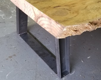 "Trapezoid Legs - Widening - 1"" x 2"" Steel Channel - for benches or low tables and cabinets - 4-14"" tall."