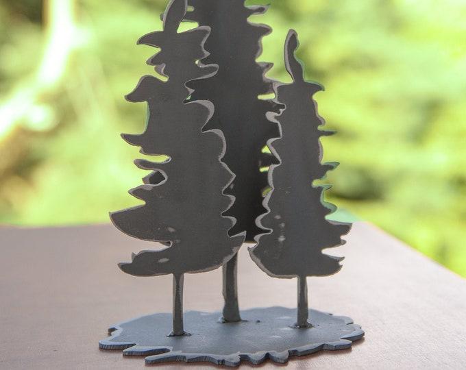 Family of Fir Trees - steel shelf art