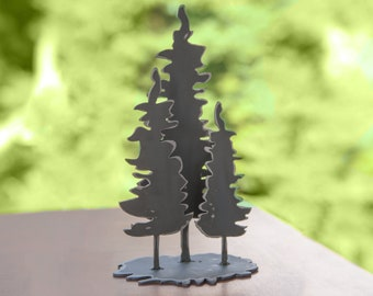 Family of Fir Trees - steel shelf art