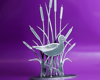 Wading Shore Bird Among Bulrushes!  Steel interior decor