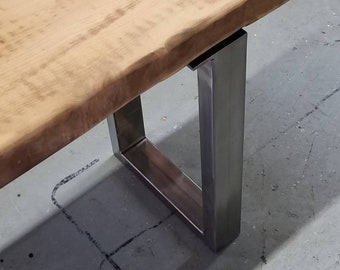 "Rectangle Tube Legs - 1"" x 2"" Rectangle Steel - for benches, low tables, shelves - 1 pair"