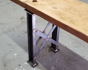 "Truss Bench Legs - 1"" x 2"" channel with bracing - industrial style- 1 pair"