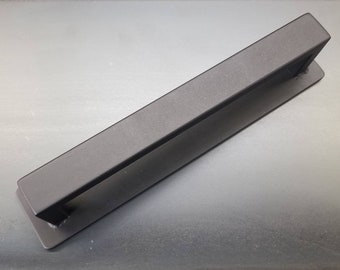 "Back-mounting Barn Door Handle - 1/2"" x 1"" Rectangle Steel on Low Profile 2"" Backer - Loft Door, Industrial Door 10"" - 26"""