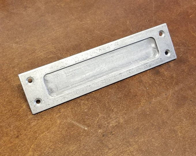 "NEW! Low Profile Recessed Sliding Door Pull 2"" Wide - Machine Milled Closed back"