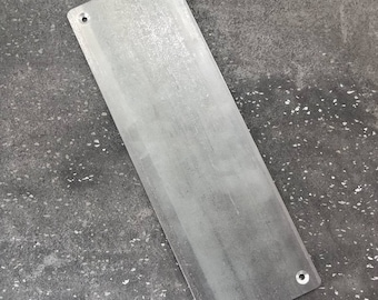 "Large 4"" Flat Steel Push Plate - Loft Door, Industrial Door 10"" - 26"""