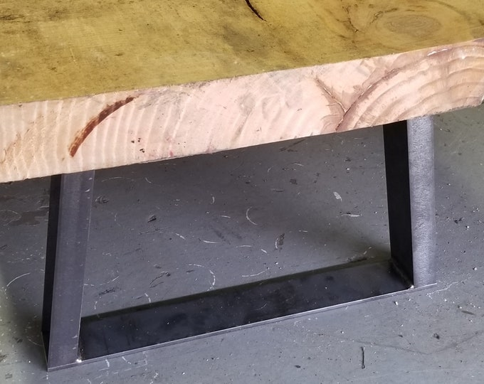 """Trapezoid Legs - Widening - 1"""" x 2"""" Steel Channel - for benches or low tables and cabinets - 4-14"""" tall."""