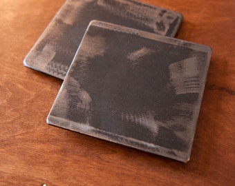 "Beautiful Industrial 4"" Steel Coasters - Set of 4 with Optional Holder"