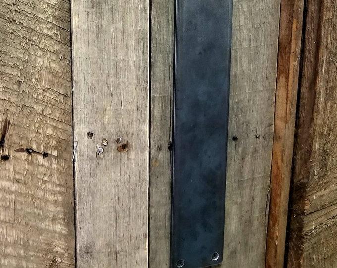 """Large 3"""" Flat Steel Push Plate - Loft Door, Industrial Door 10"""" - 26"""""""