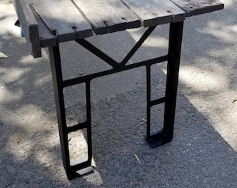 "Bridge Truss inspired Bench Legs in plasma cut steel - 16"" tall"