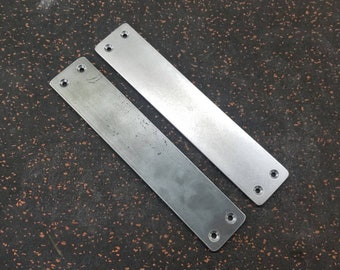 "Small 2"" Flat Steel Push Plate - Loft Door, Industrial Door 8"" - 26"""